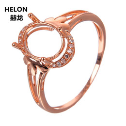 diamond wedding ring mounts UK - Solid 14k Rose Gold Natural Diamonds Engagement Wedding Ring 7x9mm Oval Cut Semi mount Ring Yellow White Gold Optional