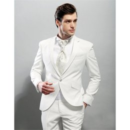 Flattering Clothes For Plus Size Australia - Costume Homme High Quality Groom Tuxedos Flat Collar Groomsman Suit 1 Button Wedding Custom Made Man For Clothes (jacket+pants)