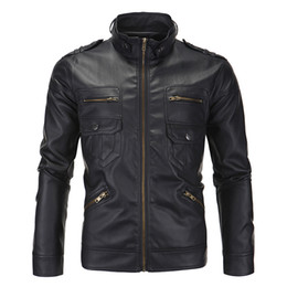 Wholesale leathers jackets resale online - Men Jacket Leather Slim Fit Stand Collar Biker Motorcycle Jackets PU Leathers Male Casual High Quality Mens Faux Coat