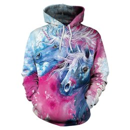 Mens white designer hoodie children sweatshirt sweat coat pullover 3D  unicorn sweater sweater round tie hat lovers new style hoodie printing b6d16892d