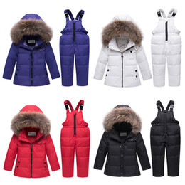 Wholesale girls down jacket fur hood resale online - Kids Down Jacket Set Baby Boy Solid Raccoon Fur Collar Coat Kids Designer Clothes Infant Baby Girls Winter Down Trousers Outfits Suit