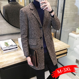 Wholesale mens business casual winter coat for sale - Group buy 2019 Winter New Men s Fashion Boutique Wear Casual Business Wool Long Coat Mens Overcoats Gray Men s Casual Jackets
