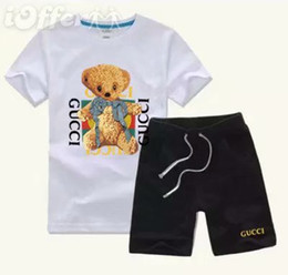 China 2019 HOT SELL classic New Style Children's Clothing For Boys And Girls Sports Suit Baby Infant Short Sleeve Clothes Kids Set cheap baby girl leopard shorts set suppliers