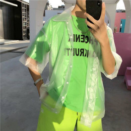 chic plus size clothes Australia - New men Plastic transparent short-sleeved shirt men clothes waterproof jacket fashion tide See through Clear pvc chic shirts T200417