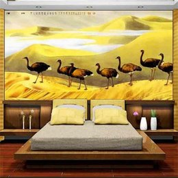 $enCountryForm.capitalKeyWord Australia - custom size 3d photo wallpaper bedding room mural desert line ostrich chinese 3d picture sofa TV backdrop wallpaper non-woven wall sticker