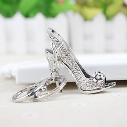 $enCountryForm.capitalKeyWord Australia - Car Keyrings Silver Plated Women Bag Charms Keychains Keyrings Fashion Crystal Key Holder High Heel Shoes Key Chains RhinestoneSH190724