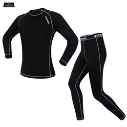 base layer thermals Australia - WOSAWE Winter Thermal Fleece Motorcycle Clothes Underwear set Warm Motocross Riding Base Layer jersey pants suit clothing