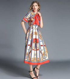 long sleeve maxi dresses Australia - Classic Orange Bow tie or belt Square neck Vintage printing Women's Big swing Mid-length Long dress wear slim and elegance