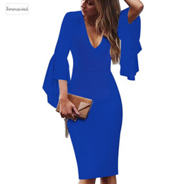 works bell Australia - Sexy Womens Deep V-neck Flare Bell Long Sleeves Elegant Work Business Casual Party Slim Sheath Bodycon Pencil Dress 1592 designer clothes