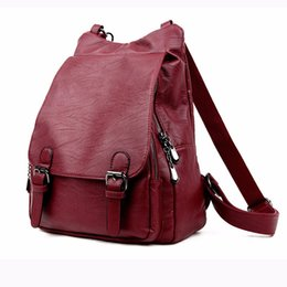 purple leather laptop bag NZ - Hot 2019 New Style Solid Color Pu Leather Woman's Backpack Casual Girl's School Bag Multi-function Laptop Bag Exquisite Backpack Y19061204