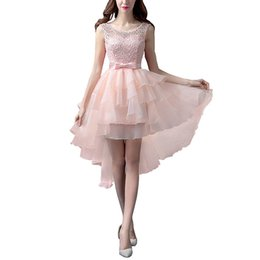 Dress Tails UK - Women's Embroidery Prom Dress Lace Tiered Tailing Short Evening Dress Tulle Pink Party dresses Elegant Vestido De Festa Prom Gown