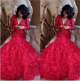 $enCountryForm.capitalKeyWord Australia - Red Mermaid Prom Dresses 2019 Deep V Neck Sequined Lace Puffy 3D Flowers Plus Size Evening Gowns Custom Made Prom Party Gowns