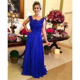 $enCountryForm.capitalKeyWord Australia - New Arrival Elegant Chiffon Sheath Royal Blue Mother of the Bride Dresses Cap Sleeve Beaded Lace Floor Length Wedding