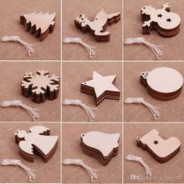 wooden pendant shapes Australia - Christmas Wooden Chips Shaped Embellishments Hanging Decorations Wood Crafts DIY Accessories Small Pendants for Christmas Tree Decora 10pcs
