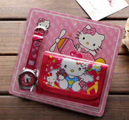 China Wholesale Lot Hello Kitty Children's Kids Boys Girls Watch Purse Wallet Set Gift Free shipping T018 supplier hello kitty girls purses suppliers