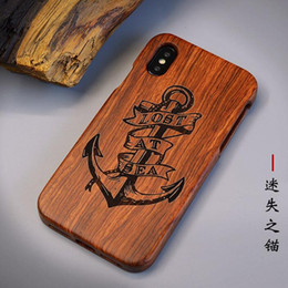 $enCountryForm.capitalKeyWord UK - New Eco-friendly natural Wood LOST AT SEA carved two-piece set cell phone case for iPhone 6s 6plus 7 7plus X XS XSmax