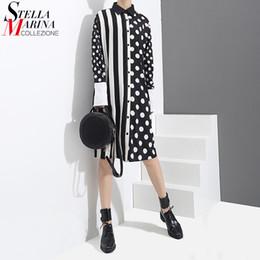 Down Korean Dresses Australia - 2019 Korean Style Women Summer Black Shirt Dress Polka Dots Printed & Stripes Long Sleeve Female Casual Midi Runway Dress 3191 Y190507