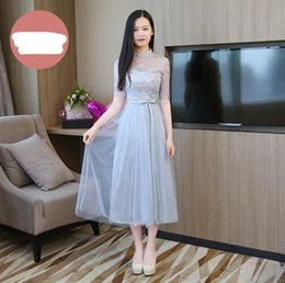 $enCountryForm.capitalKeyWord NZ - Blue Grey Colour Embroidery Sexy Dress Bridesmaids Dresses for Women Wedding Party Midi