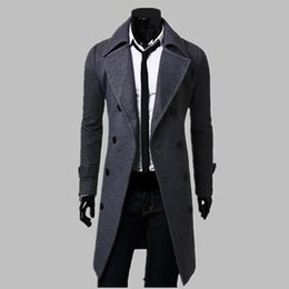 trench coat fashion UK - New Fashion Trench Coat Men Long Coat Winter Famous Brand Mens Overcoat Double-Breasted Slim Fit Men Trench Coat Plus Size
