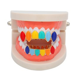 rappers jewelry 2019 - Colorful Mens Designer Teeth Grillz Personality Gold Grillz Teeth Hip Hop Rappers Dental Grills Set Jewelry cheap rapper