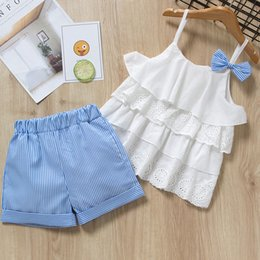 $enCountryForm.capitalKeyWord Australia - Girls Clothes Suits 2019 New Summer Style Children Bow Lace Sling Clothes Striped Short Pants Sets For 3-7y Kids Sleeveless Sets Y190522