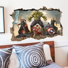 Avengers Wall Stickers Australia - Removable 3D The Avengers Hulk Ultron Cartoon Kids Wallpaper Wall Sticker Decal Decor Christmas Gitfs For Children