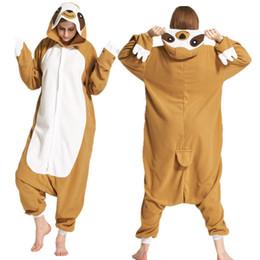 Novelty Animal Sloth Adults Cartoon Onesie Cos Costume Polar Fleece Cosplay  Costume Pyjamas Halloween Carnival Jumpsuit 0f752274bd