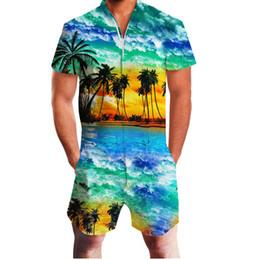 1b726d0d1df 2019 Hawaiian Sea Coconut Tree Print 3D Rompers Men Jumpsuit Playsuit Harem  Cargo Overalls Summer Casual Zipper Beach Men s Sets