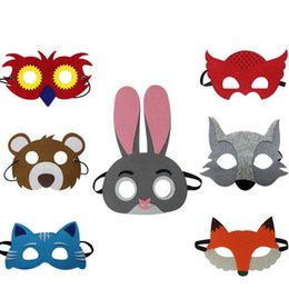 $enCountryForm.capitalKeyWord UK - 7 pcs Set Kids Colorful Animal Mask Cute Performance Rabbit Eye Mask Felt Cosplay Party Masks Party Costume Accessories 50 Sets DHL