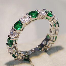 $enCountryForm.capitalKeyWord Australia - 2018 Hot Sparkling Brand New Luxury Jewelry 925 Sterling Silver Round Cut Emerald Zirconia Popular Women Wedding Band Circle Ring Gift CZ
