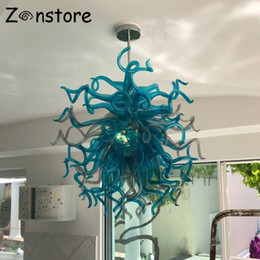 classic gold chandelier lights Canada - Classic Design Art Glass Chandeliers for Home Blue Gray 28inches Murano Glass Light Fixture for Living Room Table Top