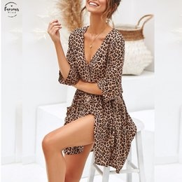 sexy leopard clothing for women Canada - Sexy Summer Clothes For Women Sexy V Neck Half Sleeve Dress Leopard Print Chiffon Dress Holiday Party Plus Size Dress