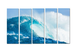 $enCountryForm.capitalKeyWord Australia - Large 5 Panel Modern Beach Canvas Print Surf Ocean Wave Seascape Painting Art Wall Home Decor Picture Contemporary For Living Room ASet104