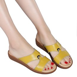 $enCountryForm.capitalKeyWord Australia - Summer Genuine Leather Open Toe Women'S Sandals Shoes Women Open Toe Elegant Flat Slippers Shoes Low Heel Flip Flop Women Slides