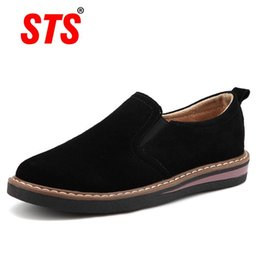 Women jazz shoes online shopping - STS BRAND New Spring Women Flats Sneakers Suede Leather Round Toe Shoes Casual Shoes Women Slip On Flat Loafers Jazz