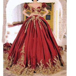 unique summer dresses for women Australia - Unique Red With Gold Appliques Prom Dresses 2019 Sexy Two Pieces Plus Size Sweep Train Formal Evening Occasion Gowns For Arabic Women