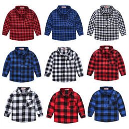 $enCountryForm.capitalKeyWord Australia - Plaid Kids Shirts Cotton Baby Girl Blouses Long Sleeve Toddler Boy Shirts Striped Children Outfits Designer Kids Clothing 9 Design DHW3440