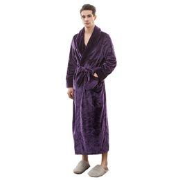 Winter NEW Men Sleepwear Flannel Warm Robe Kimono Bathrobe Casual Home Wear  Male Dressing Gown Long Sleeve Nightgown M XL 3XL 536f6e306