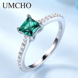 $enCountryForm.capitalKeyWord Australia - Umcho Green Emerald Gemstone Rings For Women Genuine 925 Sterling Silver Fashion May Birthstone Ring Romantic Gift Fine Jewelry MX190726