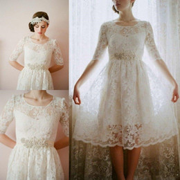 wedding dresses for muslim women NZ - Boho Knee Length Wedding Dresses With Sleeves Cheap Full Lace Country Bridal Gown For Women Modest Midi Skirts Crew Neck Wedding Guest Dress