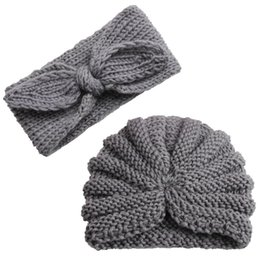 $enCountryForm.capitalKeyWord Australia - Baby Girl Hat Newborn Cap Infant Headband Toddler Kids Turban Cotton Beanie Kitting Bonnet Hairband Winter Crochet Cap 2pcs 0-5T
