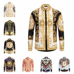 Dobby shirts men online shopping - Men Medusa Shirts D Gold striped Floral tiger Print Colour Mixture Luxury Casual Harajuku Shirt Long sleeves blouse T shirt LJJA2419