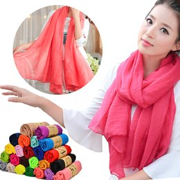 Wholesale Solid Cotton Scarves Australia - Fashion Women Girls New Cotton Linen Scarf Candy Solid Color Monochrome Beautiful Long Scarves Soft Cotton Wrap Shawl Stole