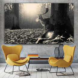 $enCountryForm.capitalKeyWord Australia - 1 Panel Canvas Painting Deer Forest Fallen Leaves Sunshine Posters Animal Black And White Cuadros Wall Art For Living Room No Frame