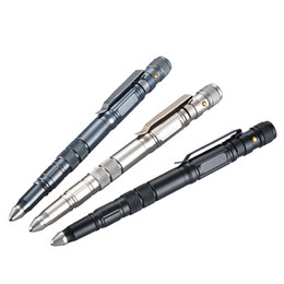 flashlight pens wholesale NZ - Multifunction Self Defense Security Metal Ballpoint Pen Tactical Pen With Tungsten Steel Head Led Flashlight Light For Outdoors