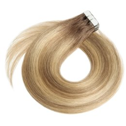 Real human haiR extensions blonde online shopping - Tape in Hair Extensions Ombre Chocolate Brown to Caramel Blonde Balayage Human Hair Extensions Tape in Natural Real Hair