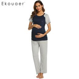 9343f3e2f Ekouaer Women Pajamas Sets Casual O-Neck Short Sleeve Tops Long Pants  Pyjamas Maternity Pajama Set Home Clothing