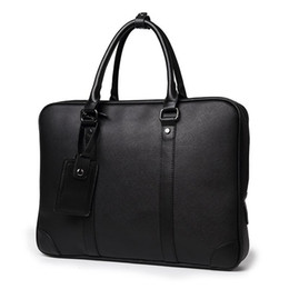 soft handbags office UK - Briefcase Business Office Men Travel Handbag 2019 Leather Laptop Male Casual Computer Bags Bag Black Tote File Classic PU Soft Itmxs