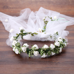 White hair Wreath online shopping - White Flower Wreath Garland Headwear Veil Tiara Hair Band Wedding Hair Jewelry Women Bridal Headbands Wedding Hair Accessories