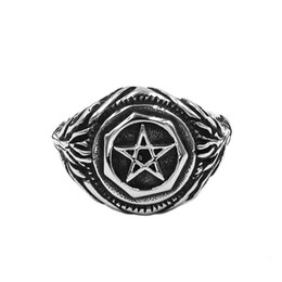 e8836809dd2 Pentagram rings online shopping - Pentagram Amulet Biker Ring Stainless  Steel Jewelry Classic Five Pointed Star